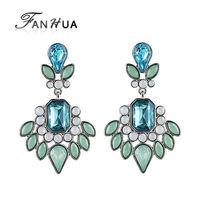 Imitation Gemstone Blue Dangle Earrings New 2014 Fashion Designer Summer Luxury Brincos for Women