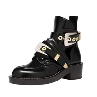 2014 Fashion Cut Out Buckle Boot Black Genuine Leather Ankle Boots Brand Shoe Women Motorcycle Boots Riding Gladiator Booties