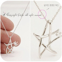 necklace star crossed  torque fashion sparkling cubic zirconia diamond knitted five-pointed star necklace free shipping