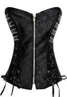 Brand New  Women Black Steampunk Zipper Front Corset 5339 do dropshipping