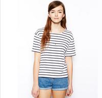 Basic black and white stripes round collar short sleeve women T-shirt Plus size Xs-XXL