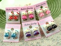 Wholesale 30pair /lot  6style children kids Hello kitty  Clip Earrings