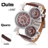 Oulm Men's High Quality Unique Design Compass Quartz Military Wristwatch Dress Watch with 3-Movt Leather Band Quartz Watch