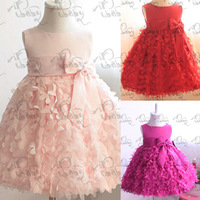 Kids Girls Pettiskirt Party Dress Flower Clusters Bow Fluffy Bubble 1-6Y Free shipping & Drop shipping