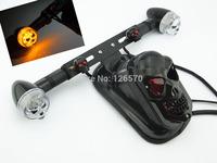 Freeshipping DIY Black Skeleton Skull Mount Plate Bracket Tail Turn Signals Light For Harley Honda Yamaha Kawasaki