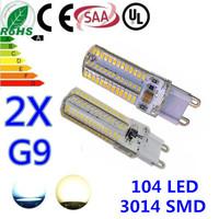 Free Shipping 2X G9 led AC220V 9W 3014SMDbulb corn lamp 104led 700LM Warm white white Non-polar LED Bulb Lamps High Lumen