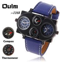 Oulm Adventure Multi-Function Unisex Dual-movement Sports Mechanical Men's Dual Movt Leather Quartz Watch