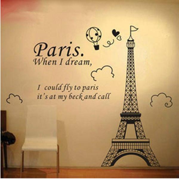 2 pcs torre EIFFEL adesivos de parede Mural PARIS Room Decor vinil decalques Big tamanho 70 * 50 cm grátis frete FZ2428(China (Mainland))