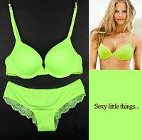 Fashion Glossy VS Women's Underwear Set Sexy Push Up Bra and Panties Set Back Lace Briefs Matching Brassiere Set