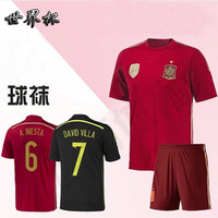 top thai quality 2014 spain soccer jersey spain jerseys home black away football shirt custom name free shipping
