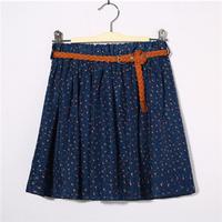 Free Shipping New Fashion Sexy Chiffon Women Skirt Flower Pattern Floral Elastic Summer Girl Skirt #6077