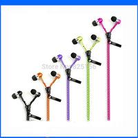 100pcs/lot Factory Sales 3.5mm zipper earphone with mic Stereo Bass Zipper Metal Head Earphones for cellphone DHL Free shipping