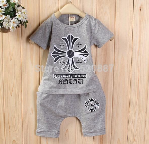 Лето новых детей подходят розы печатных короткими рукавами младенца девочек костюм Детская одежда костюм twinset