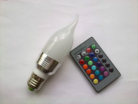 e14 led rgb candle bulb lights with remote controller