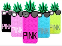 3D Pineapple Sunglasses Skin Silicone Case Cover For Apple iPhone 4 4G 4S 5 5G 5S for iPhone5 1pcs/lot Brand Lovely Case
