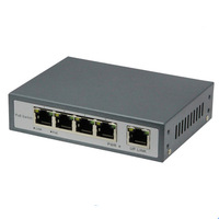 4-port PoE switch 4 and 1 Port Desktop Ethernet Switch 15.4w for each Channel 12V for ipcam