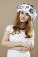Handmade Winter Women's Genuine Rex Rabbit  Fur Beanies Caps Silver Fox Fur Ball Ladies' Elegent Hats Touca QD70130