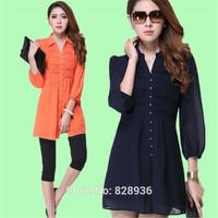 New 2014 Summer Spring Trendy Fashion Fat MM Women Ladies Half Sleeve Chiffon Long Shirt Blouse Big Size M-4XL Black Dark Blue