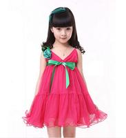 Free Shipping Girls 2014 summer suspender Dress child princess Tulle Dress Kids Dress