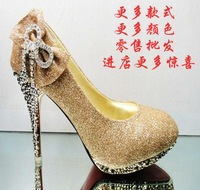 Fashion women's shoes sexy high-heeled shoes wedding shoes bridal shoes cheongsam shoes crystal platform shoes bow