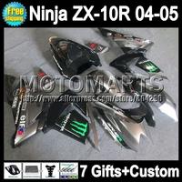7gifts  Bodywork For KAWASAKI NINJA ZX 10R 04-05 Silver black Q19128 ZX-10R 04 05 2004 2005 10 R ZX10R Fairing Silvery Kit