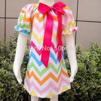 EMS Free Shipping Baby Girls chevron Summer cotton dress children's zigzag Summer bow dress Kids Summer clothing