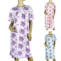 2014 new fashion lady printed nightgown, pink, blue, purple, round neck large size 3XL 4XL 5XL pajamas free shipping 777