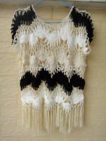 Fringe Tank Top Women Blouse Summer Beach Cover Up Handmade Crocheted Boho Clothing