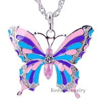 Wholesale-America Fashion Multicolor White Gold  Plated Butterfly Woman Pendant Size:47*56mm Free Shipping B24760