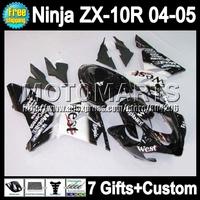 7gifts  For KAWASAKI NINJA ZX-10R Black west 04 05 2004 2005 Q19107 ZX 10R 10 R ZX10R 2004-2005 black white Fairings Kits