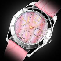Fashion Elegant Women Watch Leather Strap Rhinestone Watches 3ATM Waterproof Ladies Student Clock Dress Wristwatches Free ship