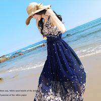 2014 summer One-piece dress floral printed chiffon dress Bohemian dresses seaside fashion beach dress for women  GLS-052