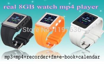 Горячая распродажа! 2 шт./лот настоящее 8 ГБ MP3 Mp4 часы-плеер, Fm + E - книга + регистратор бесплатная доставка и дети лучший подарок