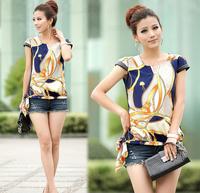 2014 summer new women fight Pibei shell sleeve retro print shirt -sleeved chiffon shirt ( high quality )
