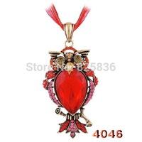 Vintage Fashion Cute Rhinestone Animal Owl Pendant Antique Bronze Long Chain For Women Free Shipping B32898