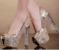 Fashion sexy high-heeled shoes thick heel open toe low crystal shoe with platform fashion shoes