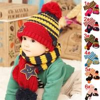 Taobao hot star children smile wool hat cap hats scarves Korean children piece fitted