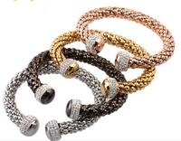 4 Colour Popcorn Set Drill Bangle Women Fashion Bracelet Stainless Steel Jewelry