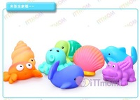 Hot Sale Elegant Baby 8 pcs/lot Bath Squirties Toy Child Sea Animals Water Spraying Set Infant Classic Swimming Toy Freeshipping