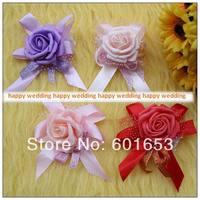 bride wrist length flower hand flower bridesmaid artificial rose wedding supplies 6pcs/lot