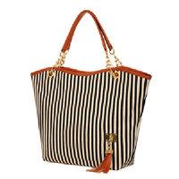Special Offer! 2014 New Fashion Handbag Vintage Stripe Plaid Big Bag Tassel Bag Shoulder Bag Chain Women's Handbag in Stock