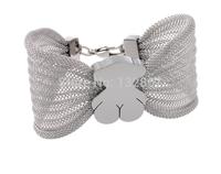 Lovely Bear Sweet Cute butterfly design Silver stainless steel Women Charms Bracelet Bangle