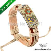 $2 Off Per $12,Hand Weaven Rope Genuine Leather Peace Bracelet Women,Fashion Flowers Bangles & Bracelets Free shipping