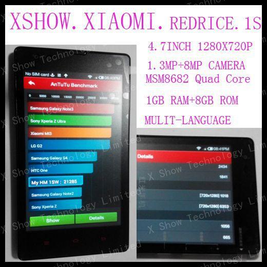 Original Xiaomi Hongmi Red Rice 1S Qualcomm MSM8228 Quad Core Mobile Phone 1GB RAM 8GB ROM 4.7'' IPS Wcdma Dual SIM GPS Russian(China (Mainland))