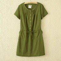 High quality !Free shipping! 2014 summer casual women's elastic waist Short-Sleeved Dress Candy-Colored Linen Dress
