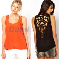 2014 New summer women Tank shirt hollow out Sexy sleeveless chiffon T-Shirt