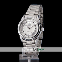 All Silver Luxury Mens Mechanical Dress Analog Wrist Watch Vintage Men's Watches Wholesale Clock