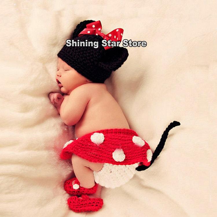 FRETE GRÁTIS 4pcs um conjunto bebé Crochet Minnie Mickey Mouse fralda cobrir Saia Sapatos Outfit Costume 0-12 meses Foto Props(China (Mainland))