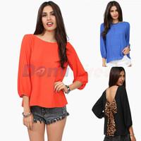 2014 new Fashion back bow Women spring Blouse shirt backless chiffon plus size Shirts S M L XL XXL