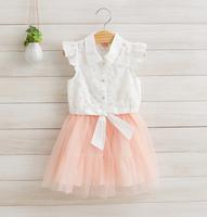 2014 New summer girls princess dress children floral dress bow cotton white/pink/green 2-8 yrs 5 pcs/lot wholesale 1179